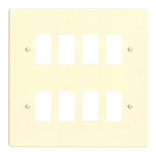 Varilight XDWPG8 PowerGrid White Chocolate 8-Gang Grid Plate (Double Twin Plate)